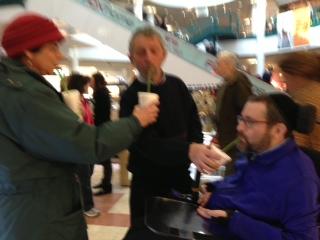 Enjoying smoothies at the mall