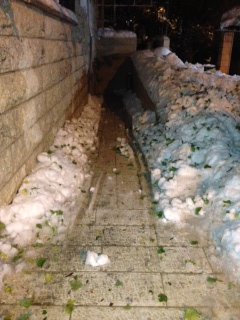 The path to our apartment. By Sat night if had become a sheet of ice.